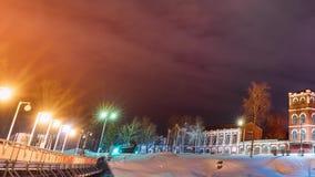 Dobrush, región de Gomel, Bielorrusia Lapso de tiempo Timelapse de time lapse a partir de la tarde a la noche de la torre de pape metrajes