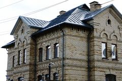 Dobry cegła dom liczba nowi tarasowaci domy zdjęcie royalty free