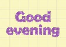 Dobry wieczór w notatnika papierze, narys Zdjęcie Stock