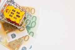 Dobry zakup dom, korzystnie zakup gospodarki miniatura dom w mini wózek na zakupy na kilka Euro rachunkach zdjęcia royalty free