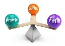 Dobry zrównoważony diety pojęcie - sadło proteina i carbs royalty ilustracja