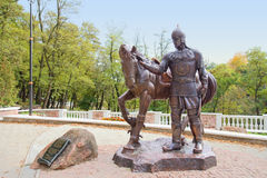 Dobrynja Nikitich sculpture - hero of Russian epic. In ancient town Korosten, Ukraine Royalty Free Stock Image