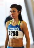 Dobrynska Viktoriya konkurriert im Hochsprung Stockbild