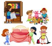 Dobrzy dzieci Robi sprzątaniu na Białym tle ilustracji
