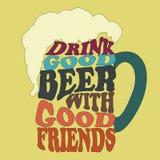 Dobrzy ludzie napoju dobrego piwa - typografia projekt royalty ilustracja