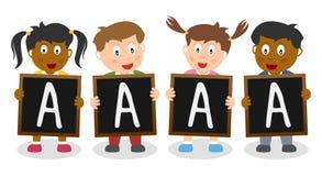 Dobrzy stopnia Blackboard dzieciaki royalty ilustracja