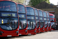 Dobule Decker Buses line up royalty free stock image