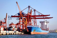 Doc. Freighter ship under loading at a doc Royalty Free Stock Image
