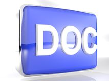 DOC blue box icon - 3D rendering. An icon for DOC files: a blue rounded box with a chromed border line has the write DOC on its front face - 3D rendering Royalty Free Stock Photography