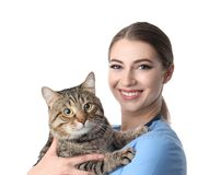 Doc. de vétérinaire avec le chat sur le blanc photo libre de droits