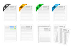 DOC Document icon set. Icon set representing the .doc file format Stock Image
