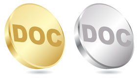 Doc extension. Silver and gold vector illustration