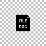 DOC file icon flat. DOC file. Black flat icon on a transparent background. Pictogram for your project royalty free illustration