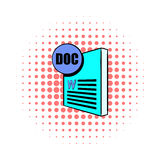 DOC file icon in comics style Stock Photography