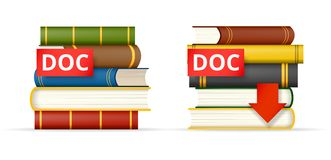 DOC format books stacks  icons Stock Photography