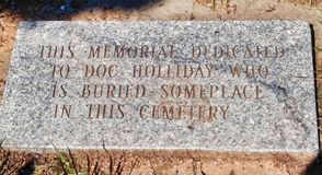 Doc. Holliday Memorial Disclaimer photos stock
