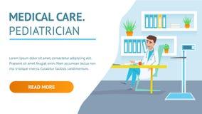 Doc. Hospital Examination van de medische behandelingpediater royalty-vrije illustratie