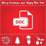 DOC Icon Vector. And bonus symbol for New Year - Santa Claus, Christmas Tree, Firework, Balls on deer antlers Stock Photo