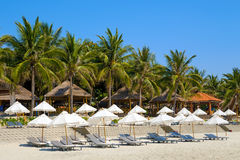 Doc Let beach, Vietnam. Umbrellas and sunbeds Stock Photography