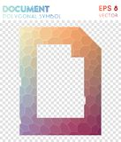 Doc polygonal symbol. Alluring mosaic style symbol. beautiful low poly style. Modern design. doc icon for infographics or presentation Stock Image