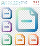 Doc remove geometric polygonal icons. Appealing mosaic style symbol collection. Admirable low poly style. Modern design. Doc remove icons set for infographics Royalty Free Stock Images