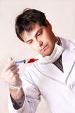 Doc with syringe Royalty Free Stock Images