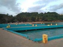 Doca Aguadillia Puerto do barco da praia do barco de impacto imagem de stock royalty free