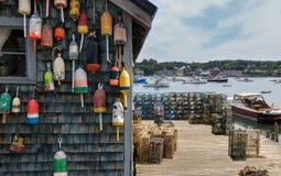 Doca da pesca da lagosta de Nova Inglaterra Fotos de Stock