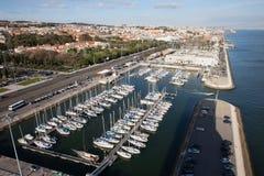 Doca de Belem Marina and Lisbon Cityscape Royalty Free Stock Image