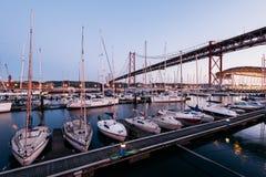 Doca de Santo Amaro Recreation em Lisboa, Portugal Imagens de Stock Royalty Free