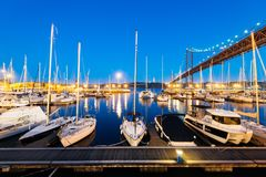 Doca de Santo Amaro Recreation em Lisboa, Portugal Fotos de Stock Royalty Free