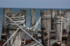 Doca dilapidada do barco em Zingst foto de stock