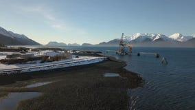 Doca industrial velha em Alaska vídeos de arquivo