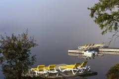Doca na laca-Superieur, Mont-tremblant, Quebeque, Canadá Fotografia de Stock