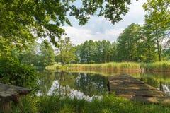 A doca velha na lagoa Fotos de Stock Royalty Free