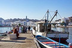 Docas dos peixes de Muttrah - Muscat, Omã fotos de stock