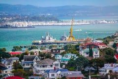 Docas no porto de Waitamata, Devonport, Auckland, Nova Zelândia fotografia de stock