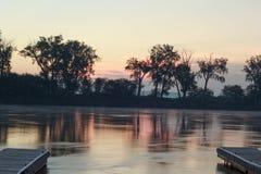 Docas no Rio Missouri fotografia de stock