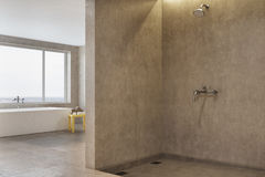 Doccia concreta e vasca, beige Fotografia Stock