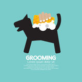 Doccia del cane con il concetto governare dell'animale domestico della spugna e del sapone illustrazione di stock