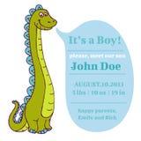 Doccia di bambino e carta di arrivo - Dino Theme Fotografia Stock