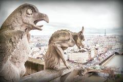 Doccione (chimera), demoni di pietra, con la città di Parigi su fondo Immagini Stock Libere da Diritti