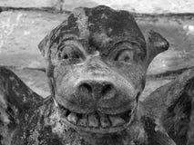 Doccione medievale sulla parete di pietra immagini stock libere da diritti