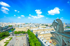 Doccione nella cattedrale di Notre Dame, torre Eiffel su fondo. PA Fotografia Stock Libera da Diritti