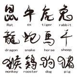 Doce animales de caracteres chinos Imágenes de archivo libres de regalías