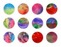 Doce círculos dibujados mano colorida Foto de archivo libre de regalías