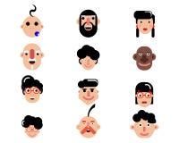 Doce caracteres de diseño plano Fotos de archivo libres de regalías