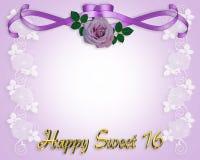 Doce cartão do convite de 16 aniversários Fotografia de Stock