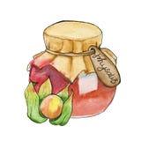 Doce caseiro em um frasco watercolor Imagem de Stock Royalty Free