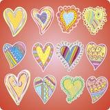 Doce corazones coloreados Fotografía de archivo